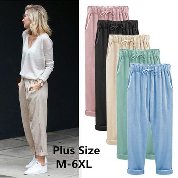 f484a863a5 2019 Wide Leg Pants Harem Pant Female Trousers Casual Spring Summer Loose  Cotton Linen Overalls Pants