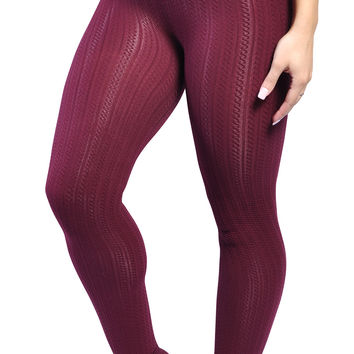BadAssLeggings Women's Ribbed Thickening Leggings Medium Cranberry