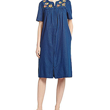 Go Softly Patio Denim Flowers Patio Dress - Dark Denim