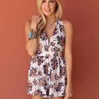 West Coast Wardrobe  Starshine Floral Halter Romper in White