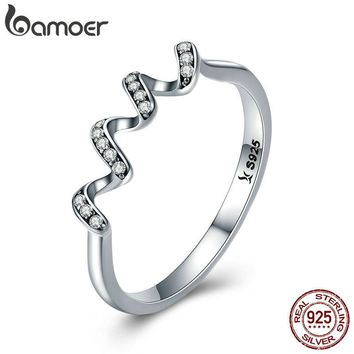 BAMOER Fashion Authentic 100% 925 Sterling Silver Twisted Geometric Finger Rings for Women Wedding Engagement Jewelry SCR379