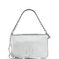 Tory Burch - Thea Metallic Fold-Over Clutch with Strap - Saks Fifth Avenue Mobile