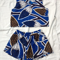 African Blue Vines Print Co-ord // Two Piece Shorts and Crop Top Set
