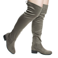 Yah Taupe By Soda, OTK Over Knee Slouch Boots w Back Lace & Block Stacked Heel