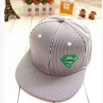Superman, stripes, flat hat, flat baseball cap, hip-hop cap, street dance hat, male, ms sun hats in summer = 1945969156