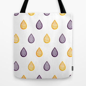 Yellow and purple raindrops Tote Bag by Savousepate