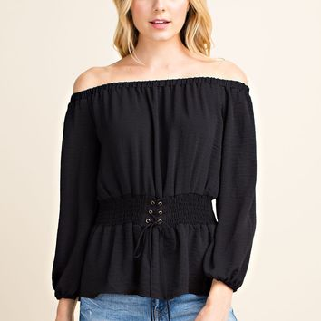 Smocked Off the Shoulder Corset Long Sleeve Top - Black