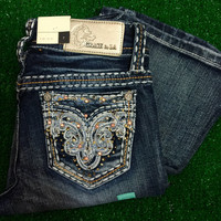 GRACE IN L.A. LITTLE GIRLS DROP OF RHINESTONES  BOOTCUT JEANS
