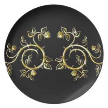golden ornament,on black backround dinner plate