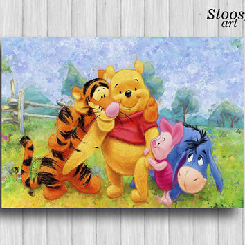 winnie the pooh poster nursery print disney watercolor art kids decor