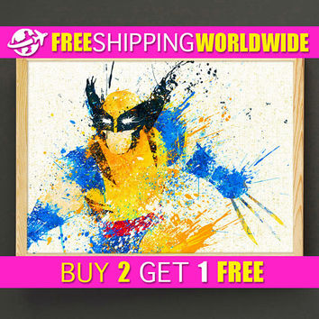 Wolverine Watercolor Art Print X-Men Poster Marvel Housewear Avengers Wall Art Gift Linen Print - Superhero - FREE SHIPPING - 245s2g