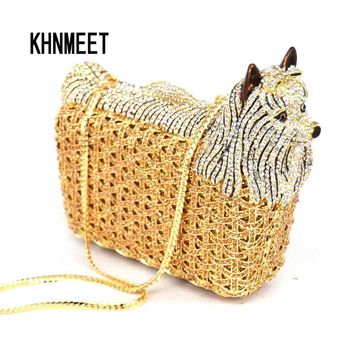 Classic Designer luxury crystal evening bag Animal dog women evening purse bags Free shipping ladies Day Clutches bag SC031
