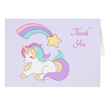 Cute Unicorn with Colorful Shooting Star Thank You Card