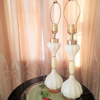 Hollywood Regency Table lamps pair white ceramic/porcelain
