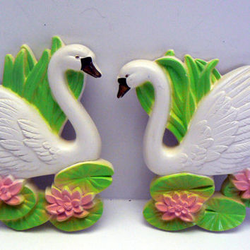 Swan Pair Wall Art Chalkware 1987 Miller Studio Beautiful Green Pink White Black Vintage Wall Decor Two Swans