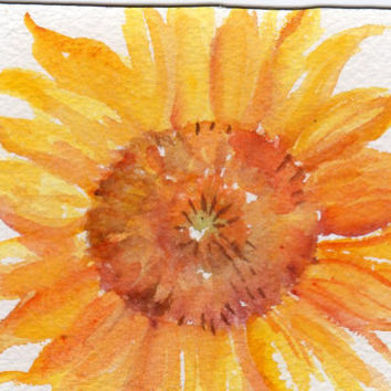 Sunflower Original  watercolor painting by SharonFosterArt on Etsy