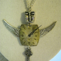 Steampunk Winged Angel Charm Necklace