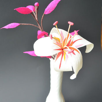 Paper Flower Arrangement - Tall white Lily with olorful details and pink leaves in an optional milk glass vase - Handmade paper flowers