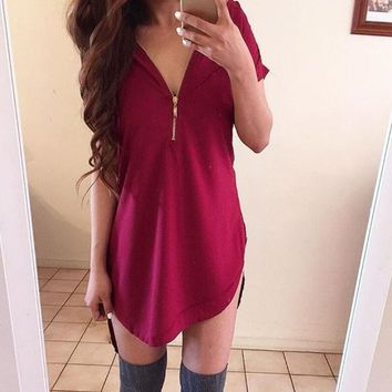 Loose V Neck  T-Shirt Dress