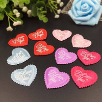 50 x ' I Love You ' Padded Heart Appliques. 25mm x 30mm. Different Colours Available. For Art, Romance, Weddings, Scrapbook and Cardmaking