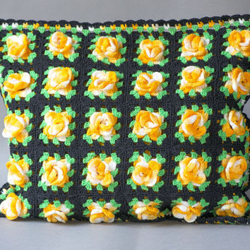 Handmade Crocheted Pillow Flowers Yellow Orange Black Background Granny Square Hippie Pillowcase Cover Gift For Home Vintage Home Decorate