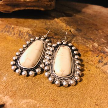 Natural White Turquoise Earrings