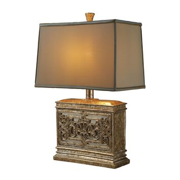 D1443 Laurel Run Table Lamp In Courtney Gold With Ria Bronze Shade And Cream Liner - Free Shipping!
