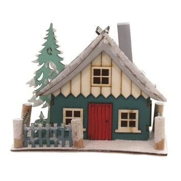 Holiday Ornaments SWISS CHALET Wood Winter Resort Home Ms1320 Teal