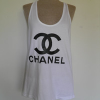 Chanel CC  logo American Apparel Racer back White Tank top
