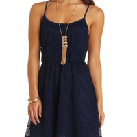 Strappy Open Back Crochet Dress by Charlotte Russe - Navy