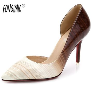 Women spring summer pointed toe thin high heels changing color luxury stripe hot female sexy patent leather ladies pumps shoes