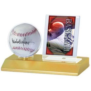 Ultra Pro Wood Base Balll And Card Holder Display Crystal Clear