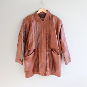 Genuine Leather Parka Chestnut Brown Leather Jacket Western Style Leather Blazer Unisex Vintage 80s Size XL #O137A