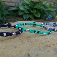 Girls Stackable Anklets, Hemp Anklets, Silver Ladybugs, Seed Beads, Summer Fashion, Friendship Bracelets, Free USA Shipping