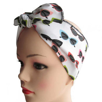 Cat Eye Sunglasses Fabric Head Wrap Scarf