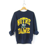 20% OFF SALE vintage Notre Dame College sweatshirt. cotton blend sweatshirt. navy blue sweatshirt. Fighting Irish sweater