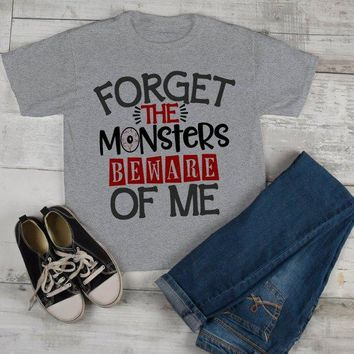 Boy's Funny Halloween T Shirt Forget Monsters Beware Of Me Toddler Shirts Adorable Halloween Tee