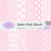 Baby Pink Blush and White Digital Scrapbook Paper Pack Instant Download Daisies Dots Chevron Damask Quatrefoil Geometric 12x12