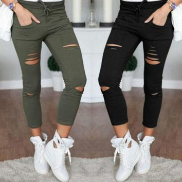Summer Skinny Jeans Women Denim Pants Holes Destroyed Knee Pencil Pants Casual Trousers Black White Stretch Ripped Jeans