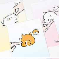 1x Fluffy Butt Mozzi Letter Set - 4sh Writing Stationery Paper 2sh Envelope