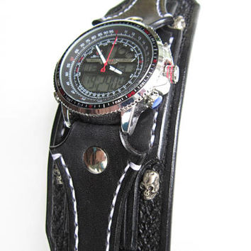 Steampunk Watch For Men, Mens Cuff Watch, Gothic Wristwatch, Skull Watches
