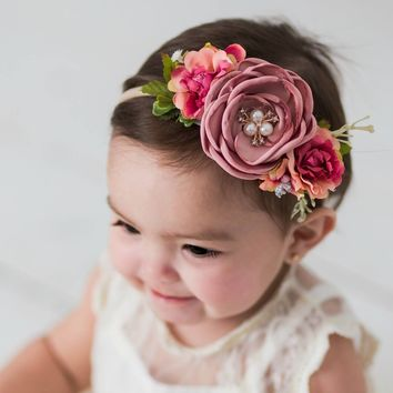 Flower Nylon Headband, Nylon Headbands, Baby Girls Headbands, Flower Crown, Newborn Headand