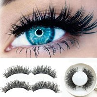 Handmade1 Pair 3D Double Magnetic False Eyelashes Lashes Reusable False Magnet Eye Lashes natural magnetic lashes 2U1129