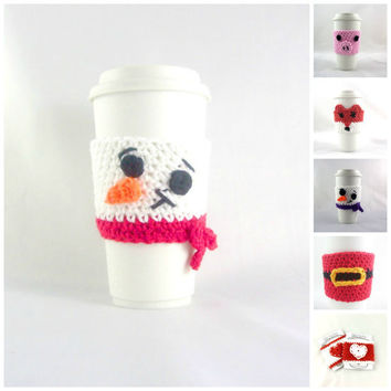 Choose Your Style, SNOWMAN / travel mug / coffee mug cozy / travel cup sleeve / cup cozy  / coffee cup sleeve, tea cups, coffee cups