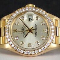 ROLEX - 26mm Ladies 18kt Gold PRESIDENT Diamond Bezel Box/Books 79138 SANT BLANC