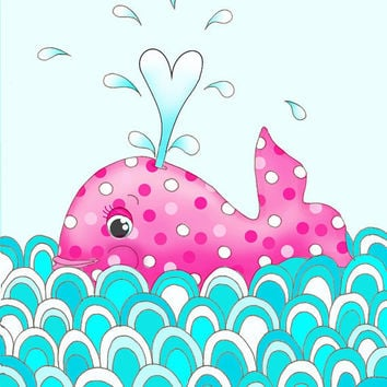 Nursery Art Hot pink whale little girls room kids by wonderlaneart