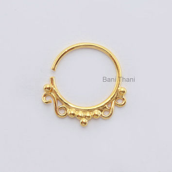 Handmade Gold Plated 925 Sterling Silver Nose Ring, Ethnic Septum Ring, Body Jewelry, Nose Ring, Gypsy, Tribal Belly Dance - #6729
