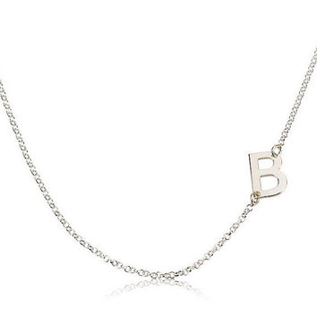 Sideways One Letter  Initial Necklace  - .925 Sterling Silver