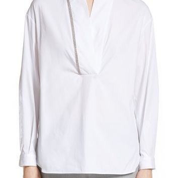 Fabiana Filippi Beaded Stretch Poplin Tunic | Nordstrom