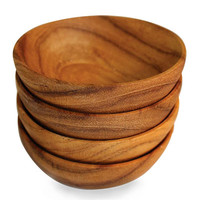 Teak Set of 4 Round Sauce Bowls - KITCHEN AND DINING - Serveware - Dishes